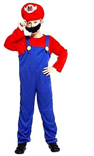 Taglia l - 6-7 anni - costume - travestimento - carnevale - halloween - super mario bros - videogiochi - colore rosso - bambino
