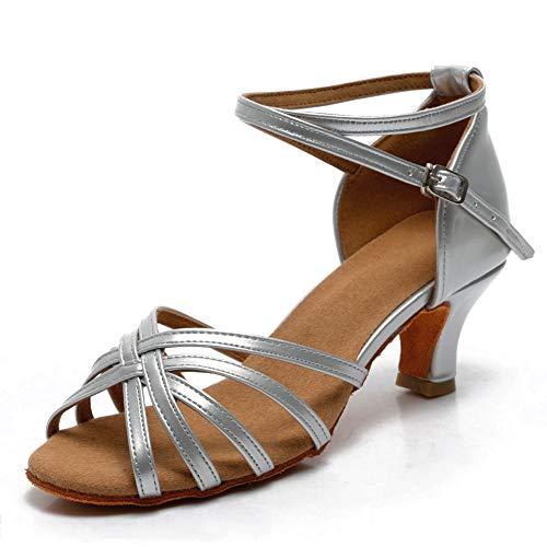VASHCAME-Zapatos de Baile Latino de Tacón Alto/Medio para Mujer Plata 35 (Tacón-5cm)