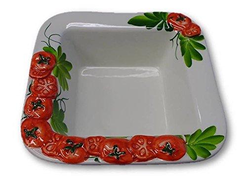 Bassano italienische Relief Keramik kleine Schale quadratisch Tomate NEU Kleine Keramik