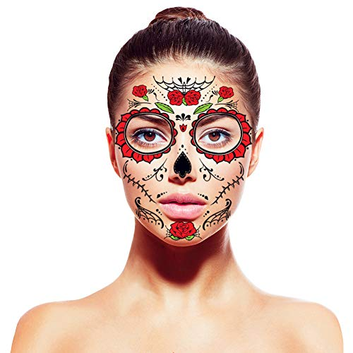 [4 pack]tatuaggi temporanei,amytech day of the dead tatuaggio temporaneo tattoo realistico maschera full face tattoo impermeabile (red rose)