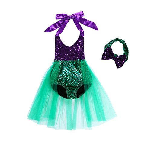 Auspicious beginning Baby Girls Scale Pattern Tulle Mermaid Swimwear with Headband
