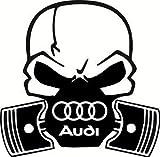 Vinilo adhesivo para coche, diseño de calavera con pistones y símbolo de Audi