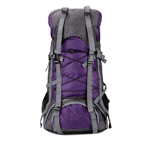 60L Borse Sportive All'aria Aperta Impermeabile Sacchetti Di Nylon Alpinismo Zaini Da Trekking,LightBlue Purple