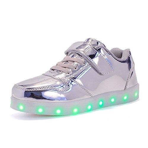 LED con Luci Sneakers Bright Light USB 7 Colori Bambino Scarpe Lampeggiante bambini Ragazzi Ragazze Regalo Natale Capodanno (32, Silver)