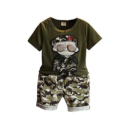 Best Little Girl Kostüm - Baby Boy Camouflage Trainingsanzug 2 Stück Cool Sport Sommer Kleidung Set T-Shirt Top und Short für 3-7 Jahre Alt Little Kid