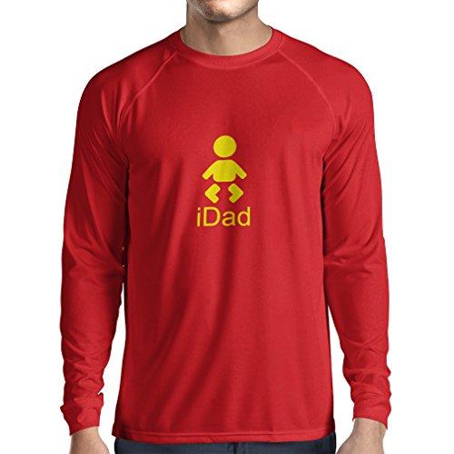 T-Shirt mit langen Ärmeln IDad bester Vati überhaupt Geschenk für Männer Vatertagsgeschenke geschenke für papa (Large Rot Gelb)