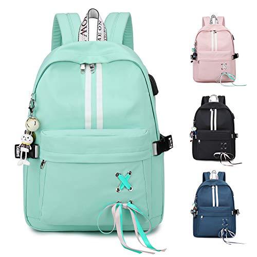 FEDUAN Campus Rucksack Schultasche Schulrucksack Studententasche Laptop-Rucksäcke mit USB/Kopfhörer Anschluss Tagesrucksack modisch Reiserucksack Mädchen Jungen Teenager groß 18L M4 Aqua-blau türkis