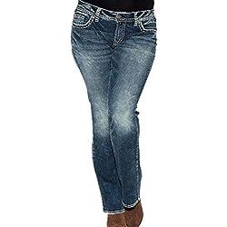 15f4a6b5065 Kasen Vaqueros Mujer Flacos De Cintura Alta Leggings Elásticos Skinny Slim  Pantalones Azul Marino L