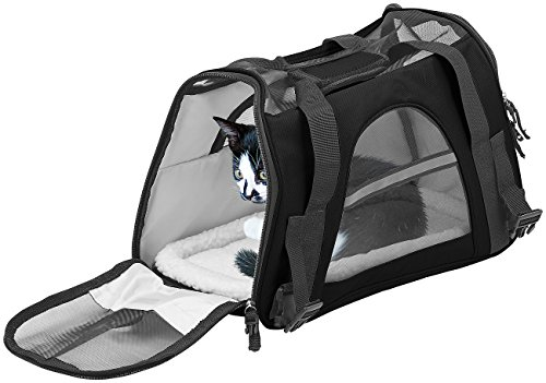 Sweetypet Hundetragetasche: Hand- & Auto-Transporttasche für Haustiere bis 5 kg, Größe M, schwarz (Katzen Transporttasche)