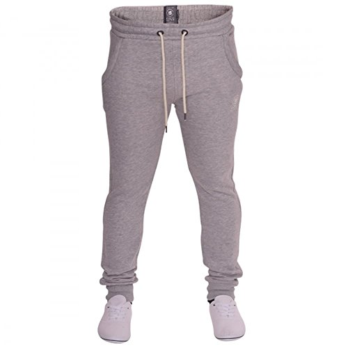 Crosshatch Herren Hohe Gewicht Jogginghose Jogger Fleece Sweat Jog Pants Gr. S, Grau - Grau (Pants Fleece Jog)