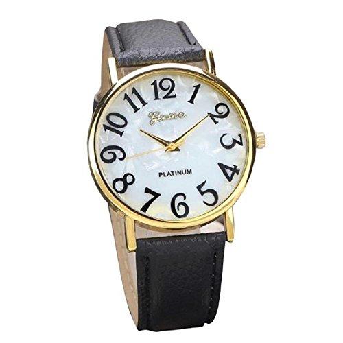 donne retrò orologio, FEITONG orologio digitali quadrante in pelle banda quarzo orologi analogici da polso (Rolex Omega Orologi Omega Watch)