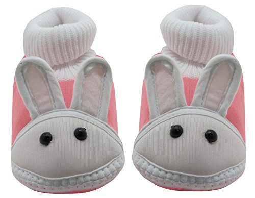 Neska Moda Baby Boys & Girls Rabbit Baby Pink Booties For 0 To 12 Months Infants
