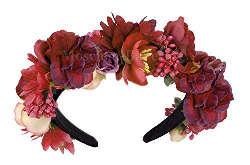 Moschen-Bayern Trachten Blumenkranz Haarreif Blumen Haare Haarband Haarschmuck Hochzeit Oktoberfest Rot