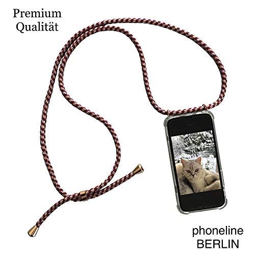 phoneline Berlin Case für das iPhone 7 Plus & 8 Plus Handykette in Rot/Bordeaux Handyhülle mit Band Kette Necklace Kordel Umhängen