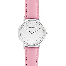 Andreas Osten Ladies Womens Silver Bezel Pink Leather Wrist Watch A0-158