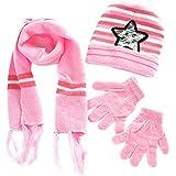 Wintefei Baby Kids Unisex Warm Autumn Winter Paillette Star Beanie Cap Scarf Gloves Set