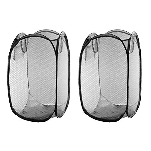 Cabilock Useful 2 Pcs Foldable Pop Up Easy Open Mesh Laundry Clothes Hamper Basket for College Dorm (Black)