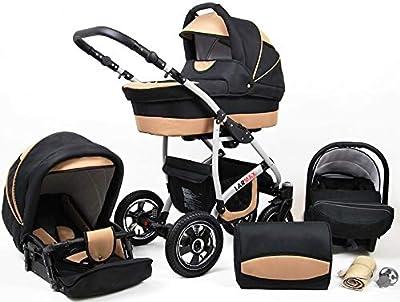 Lux4Kids Kinderwagen 3 in 1 Kombi Komplettset mit Autositz Isofix 2in1 Babywanne Babyschale Buggy Buggy Baby Larmax