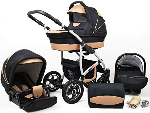 Lux4Kids 3 in 1 Combi pram Pushchair Stroller Complete Set with car seat Isofix Larmax Black & Pink 4in1 car seat +Isofix Lux4Kids Lux4Kids 4in1 or 3in1 or 2in1 pushchair. You have the choice whether you need a car seat (baby seat certified according to ECE R 44/04 or not). Of course, the Pram is stabil, safe and durable Certificate EN 1888:2004 Of course, the baby Basket has a rocking function when it is removed from the pram. The push handle adapts to your size and fits for everyone 2