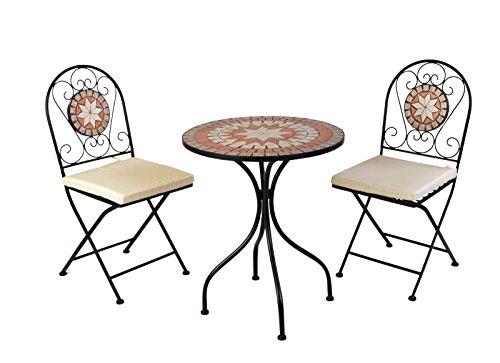Mosaik Bistro Stuhl (Mosaik Sitzgarnitur Sitzgruppe Gartentisch Stühle Gartengarnitur Gartenmöbel Bistrotisch Set 5-teilig)