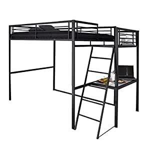 lit mezzanine anthracite avec plateforme 140x190 jessy. Black Bedroom Furniture Sets. Home Design Ideas