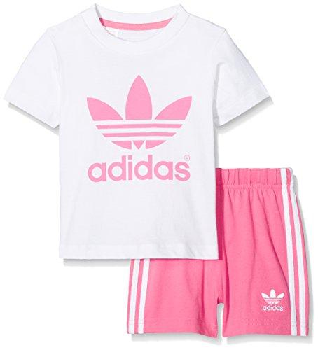 adidas Kinder Infant T-Shirt + Short Set Kleinkinder Anzüge & Bodies, Weiß / Pink, 86