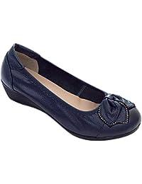 c1a003964da Yiliankeji Mujer Zapatos de Tacón - Cuero Solo Cuña Parte Inferior Suave  Casual Cómodo Primavera Punta