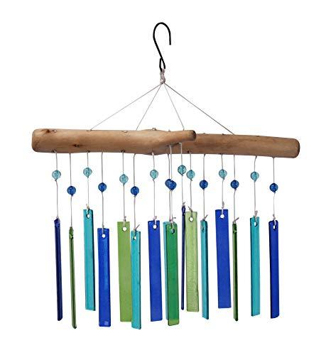 The Paragon Windspiel aus Glas und Holz, handgefertigt, Treibholz, mit bunten Glasscheiben, helle Gartendekoration