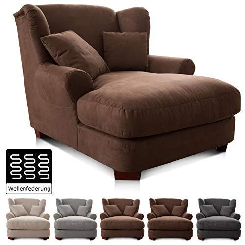 CAVADORE XXL-Sessel Oasis / Großer Polstersessel im modernen Design / Inkl. 2 schöne Zierkissen / 120 x 99 x 145 / Lederoptik in braun