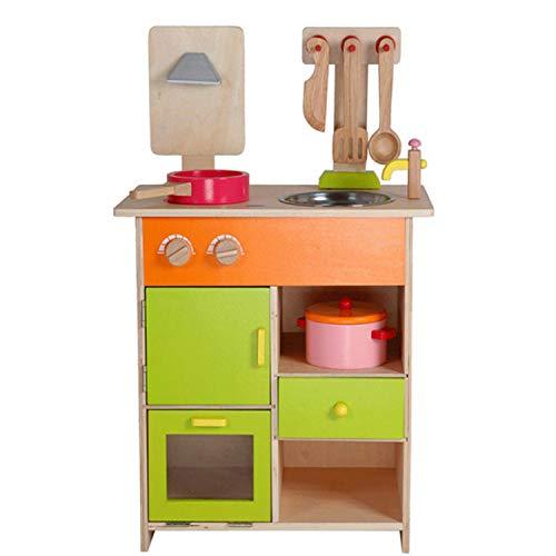 XCXDX Große Hölzerne Küche Spielzeug Set, Kinderkoch Rollenspiel Zubehör, Simulation Kochfeld Kochgeschirr, Kreatives Geschenk