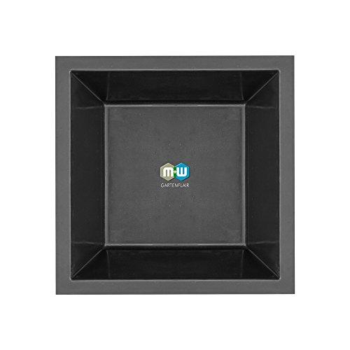 GFK Springbrunnenbecken 1700 | Inhalt: ca. 1050 Liter | quadratisch | ca. 170x170x52 cm (Schwarz)