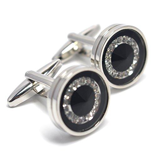 MESE London Schwarz Faux Diamanten Runde Manschettenknöpfe Edelstahl Tasten Hemd Bündchen - Kostenlose Geschenkverpackung (Die Unglaublichen Kostüm Designer)