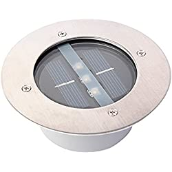 Yosoo Edelstahl Rund Solar Led Unterirdischen Licht Wasserdicht Boden Vergraben Licht Außenbeleuchtung Solar Garten Dekorative Leuchten (Warmes Weißes Licht)