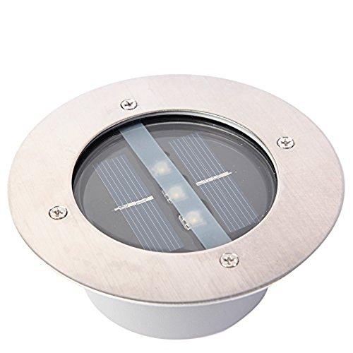 Yosoo Edelstahl Rund Solar Led Unterirdischen Licht Wasserdicht Boden Vergraben Licht Außenbeleuchtung Solar Garten Dekorative Leuchten (Reines Weißes Licht) (Weiße Lichter Solar)