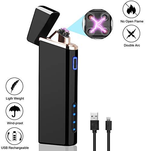 Funxim USB Feuerzeug, Elektrisches Plasma Feuerzeug, winddichtes wiederaufladbares flammenloses Feuerzeug mit Restbatterieanzeige, Feuerstarter für Haus/Küche/Outdoor/BBQ/Camping und Kerze