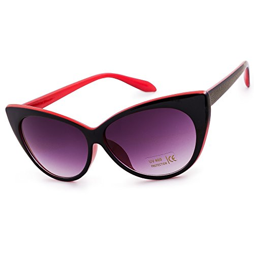 Damen Dame Sonnenbrille Brille Katzenaugen Stil Cat Eyes MFAZ Morefaz Ltd (Red Black) (Damen Lesebrille Cat Eye)