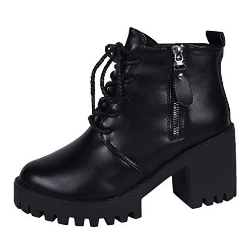 LILIHOT Damen Boots Schuhe Keil Solide Zipper Biker Ankle Fashion Flache Ankle Boots Stiefel Wasserdicht Kurz Stiefeletten Schuhe Winter Stiefel -
