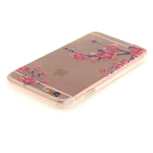 iPhone 6S Hülle,iPhone 6 Hülle,iPhone 6 6S Silikon Hülle [Kratzfeste, Scratch-Resistant], Cozy Hut iPhone 6 6S (4,7 Zoll) Hülle TPU Case Schutzhülle Silikon Crystal Kirstall Clear Case Durchsichtig, F Pfirsichblüte