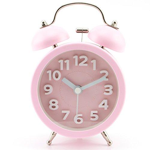 PiLife Silencioso No-Tictac Vintage Analógico Cuarzo Despertador con la Campana Gemela Redonda, Alarma Fuerte / Luz de Noche / Números 3D para Ligero & Durmientes Pesados - Rosa