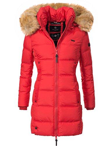 Navahoo Damen Mantel Steppmantel Wintermantel Quitscheente (vegan hergestellt) Rot Gr. L