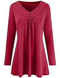 Yvelands Blusas para Mujer Tallas Grandes, Mujer Otoño Vestido Suelto Botón con Cuello en V