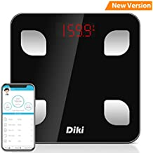 Báscula de Baño Digital Bluetooth con APP por IOS y Android, DIKI Balanza Digital Baño de Alta Medición Precisa con Análisis Corporal de 8 Funciones, Registrar usuarios ilimitados, 5-150KG