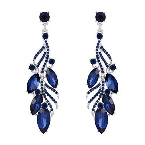 Clearine Damen Ohrringe kostüm Fashion Mode Kristall Marquise Leaf Filigrane Ohrhänger Ohrstecker Ohr Schmuck Sapphire-Blau ()