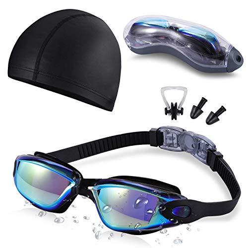 SKL Schwimmbrille für Erwachsene Swimming Goggles wasserdichte Schwimmbrille Weitwinkel-Schwimmbrille mit Anti Fog UV 400 Schutzlinse und Schutztasche für Erwachsene Männer Frauen Jugendliche schwarz