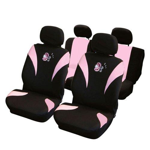 Carpoint 0310132 - Fundas para asientos (8 piezas), color negro y rosa