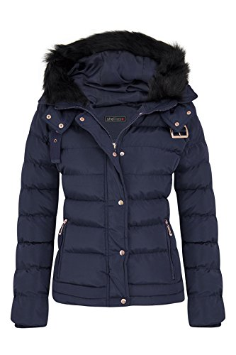 699c6759fca Womens Fur Hooded Belt Jacket Quilted Winter Button Long Faux Warm Padded  Shower Zip Outerwear Proof
