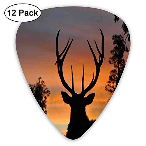 Guitar Picks12pcs Plectrum (0.46mm-0.96mm), Black Deer Red Sky,For Your Guitar or Ukulele