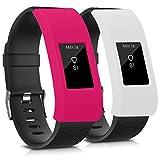 kwmobile 2in1 Set: 2X Sport Armband Schutzhülle für Fitbit Charge 2 Innenmaße: ca. Ohne Tracker in Weiß Pink