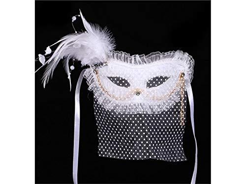 DOOUYTERT Künstliche Blumen Künstliche Feder Maske mit Spitze Maskerade Maske für Weihnachten Kostüm Cosplay Requisiten (weiß) Hochzeitssträuße