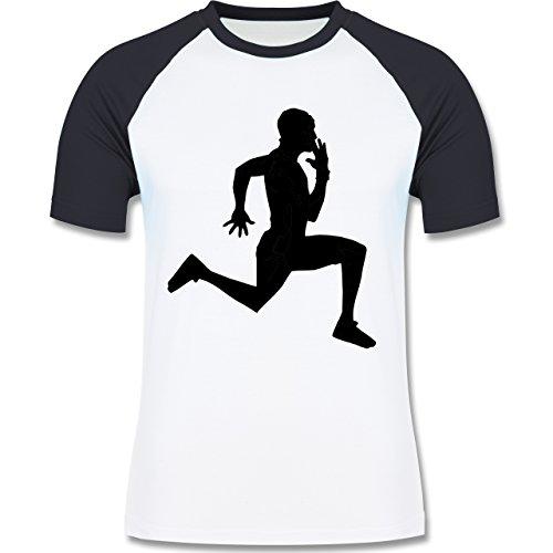 Laufsport - Läufer - zweifarbiges Baseballshirt für Männer Weiß/Navy Blau